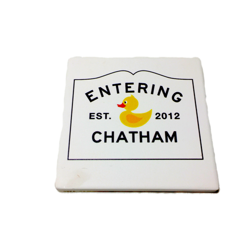 Chatham Ducks Tile Coasters with Chatham Sign | Ducks in the Window