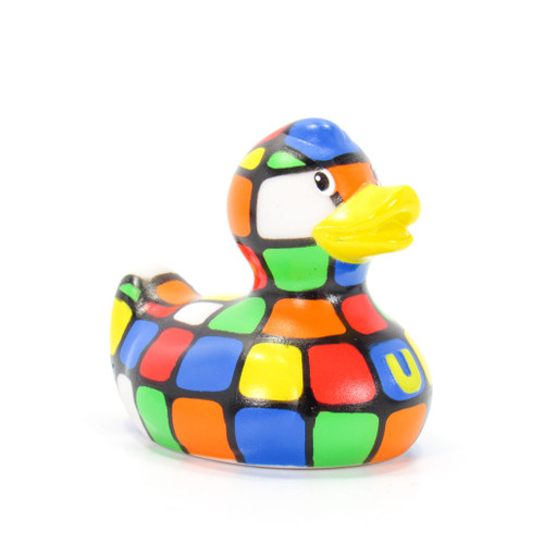 80s Cube Duck Mini (Rubick's Cube) Rubber Duck Bath Toy by Bud Ducks | Ducks in the Window