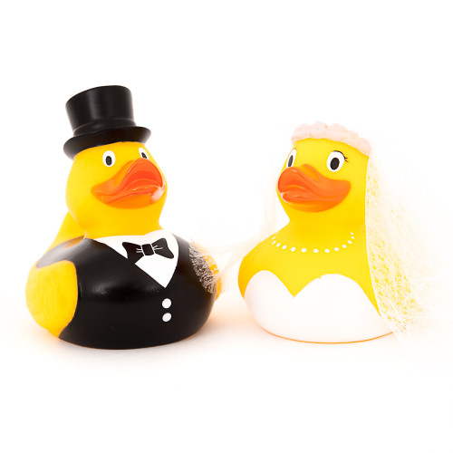 Wedding Couple Rubber Duck with bride and attached vail and groom   Ducks in the Window