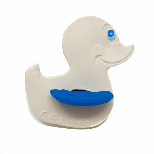 Baby Teether Rubber Duck Blue by Lanco 100% Natural Toy & Organic | Ducks in the Window®