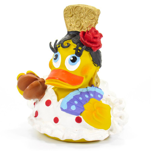 Spanish Dancer Castanets  White Rubber Duck by Lanco 100% Natural Toy & Organic   Ducks in the Window®