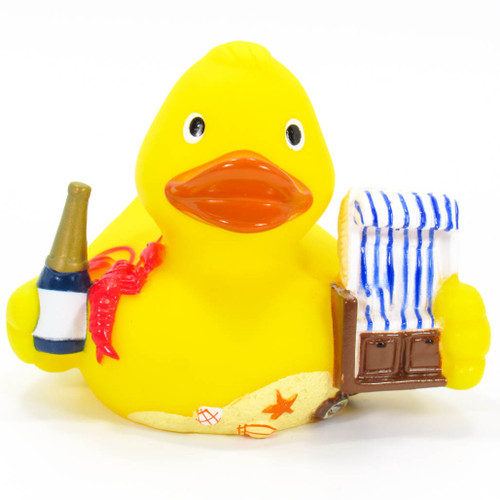 Beach Cabana Rubber Duck Squeaker by Schnables | Ducks in the Window®