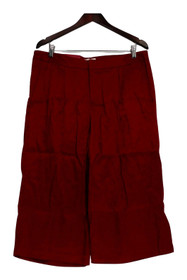 Merona Pants Sz 14 Wide Leg Front Zippered Side Pocketed Red Womens