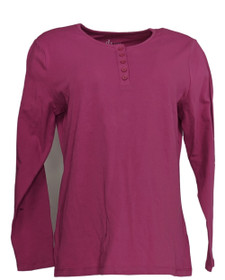 Denim & Co. Women's Top Sz XS ong Sleeve Stretch Magenta Purple A3127
