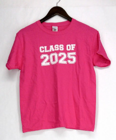 Gildan T-Shirt Top M Youth Short Sleeve Tee Class Of 2025 Pink