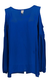 Hot In Hollywood Women's Top Sz S Cold Shoulders Long Sleeve Blouse Blue