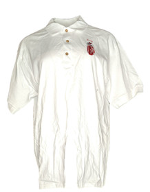 Gildan Women's Top Sz L Embroidered Short Sleeve Polo White