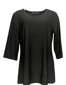 Creations Women's Top Sz XL 3/4 Sleeve Pull Over Polyester Black