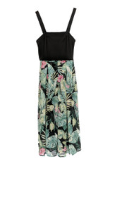 North Style Dress Sz 6 Leaf Print Removable Straps Green