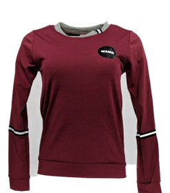 Wang Women's Top Sz S Long Sleeve Stretch Gray/ Burgundy Red