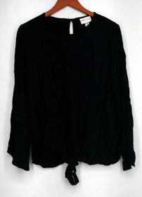 Ava & Viv Plus Size Top X Long Sleeve Tunic w/ Front Tied Detail Black Womens