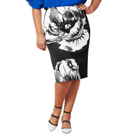 Masseys Basic Pencil Skirt Floral/ Black S
