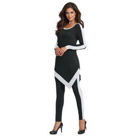 Masseys Colorblock Asymmetric Lounge Set Black/ White 3X
