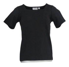 Joan River's Women's Top Sz 2XS (XXS) Square Neck Tee Shirt Black A275296