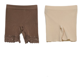 Breezies Shaper Sz S Seamless Smoothing Mid-Thigh Short Set of 2 Beige A374503