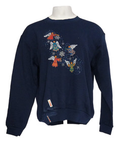 Country Store Women's Sz M Printed Crewneck Pullover Navy Blue