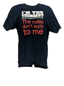 Gildan Women's Top Sz L I'm the Youngest Print T-Shirt Navy Blue