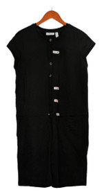 Denim & Co. Active Sz S Textured French Terry Button Front Romper Black A379767