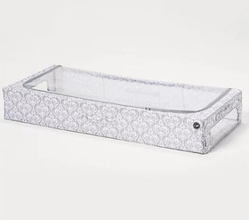 Clutterfree Clearview Sz L Under the Bed Storage Box Gray Print
