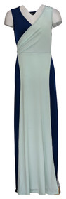 Du Jour Dress Sz 2XS (XXS) Sleeveless Color-Blocked Knit Maxi Blue A366294