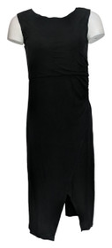 Lisa Rinna Collection Dress Sz 2XS (XXS) Side Ruched Midi Length Black A308775