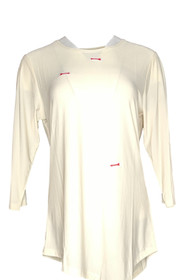Creation Women's Top Sz M Solid Liquid Knit 3/4 Sleeve Ivory
