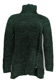 Denim & Co. Women's Sweater Sz 2XS (XXS) Chenille Cable T Neck Green A372295