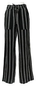 SO Sz M Juniors' Gauze Wide Leg Pants Elastic Waistband Black
