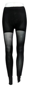 MeMoi Sz Footed Tights M Opaque Control Waist Solid Black