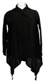 Layers by Lizden Sweater Sz XS/S Whisperlush Open Front Cardigan Black A271930
