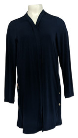 Everyday By Susan Graver Women's Top Sz S Duster W/ Snap Detail Navy A371704