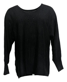 Belle by Kim Gravel Women's Sweater Sz XS Reversible with Bling Black