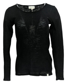 NYDJ Forever Comfort Ribbed Long-Sleeve Scoop Neck Top Sz XS Black A394962