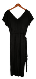 Anybody Petite Jumpsuits P2XS Textured Knit Tie-Front Black One-Piece A385890