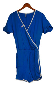 WVVY By Fitty Britttty Jumpsuits Sz S French Terry Surplice Romper Blue 739152