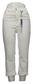 SoftCell by Diane Gilman Women's Jeans Sz 4 Wide-Cuff Cropped White 740967