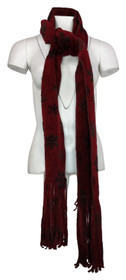 Coldwater Creek Snowflake Printed Soft Fleece Red Scarf