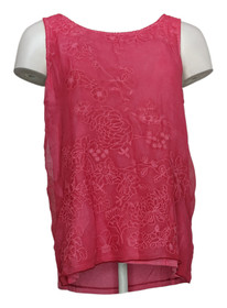 Curations Women's Top Sz M Embroidered Tank Round Neck Pink 688954