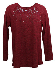 Diane Gilman Women's Sweater Sz M Studded Stretch Brushed Knit Red 632141