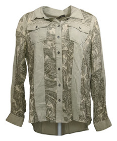 Diane Gilman Women's Top Sz S Print/Solid Colorblock Button-Up Green 686765