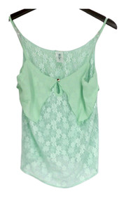 Sace Top Sz S Layered Lace Camisole w/ Keyhole Detail Mint Green Womens