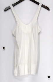 DNA Couture Top Sz M Wide Strap V-Neck Tank w/ Banded Trim Ivory Womens