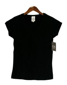 Icon Apparel Top Sz L Stretch Knit V-Neck Short Sleeve Black Womens