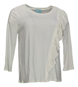 CeCe by Cynthia Steffe Top Sz M Pull Over with Ruffle Detail Ivory Womens