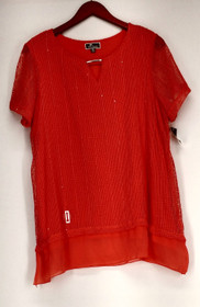 JM Collection Plus Size Top 0X Sheer Sleeve Porcelain Rose Red Womens