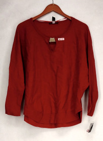 INC Plus Size Sweater 0X Metallic Accented Keyhole Pull Over Real Red Womens