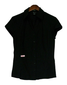 Style & Co. Size 6 Button Down Cap Sleeve Black Knit Top Womens