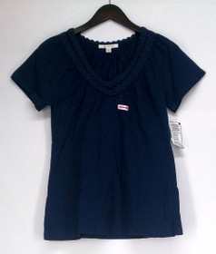 JM Collection Size S Short Sleeve Knit Top Navy Blue Solid Womens