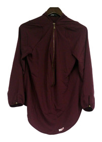 Edge by Jen Rade Top Sz 14 Partial Zip Front Pull Over Style Wine Red A258262