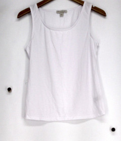 Geneology Top Size S Scoop Neck Tank Polyester Knit Ivory Womens